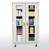 transport mobile clear view storage cabinet
