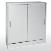 Counter height sliding door storage cabinet