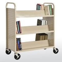 6 sloped double sided shelf booktruck