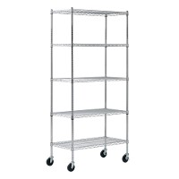 Mobile heavy duty wire shelving - 5 tier