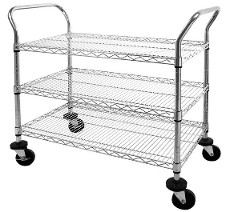 Chrome wire shelf cart