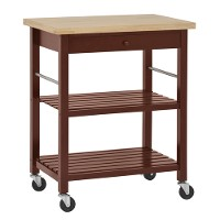 Kitchen utility cart with wood top