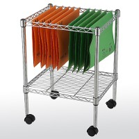 Single-tier mobile file cart