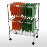 Two-tier mobile file cart