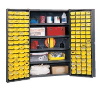 Pocket door cabinet 48 wide with 128 bins